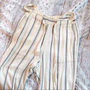 Thin Striped Paperbag Pants